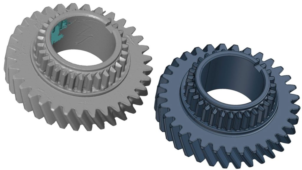 Two gear 3D models—on the left is a 3D scan and on the right is a CAD model