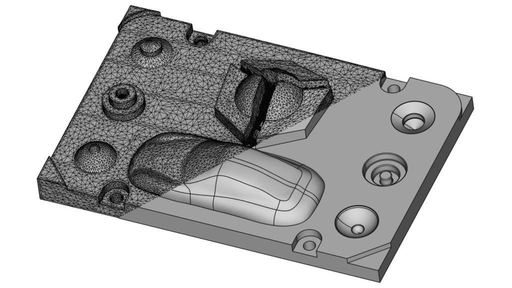 Die geteilte Ansicht zeigt links einen 3D-Scan und rechts ein Volumenmodell des Holocreators-Demoteils.