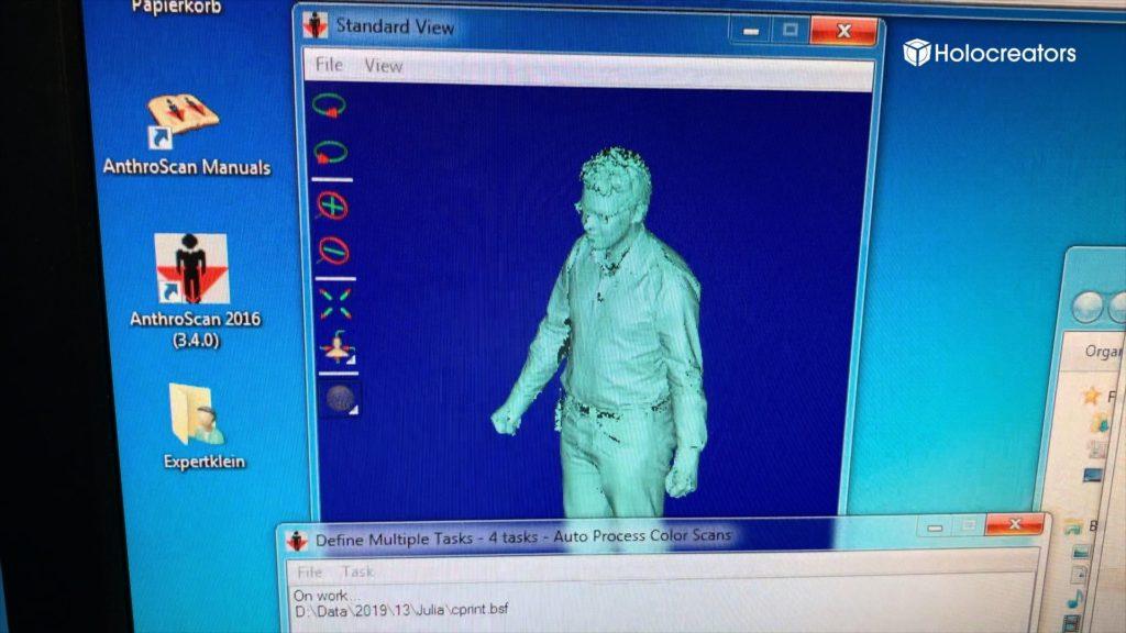 Der 3D-Scan von Swann Rack wird mittels Anthroscan Software dargestellt.