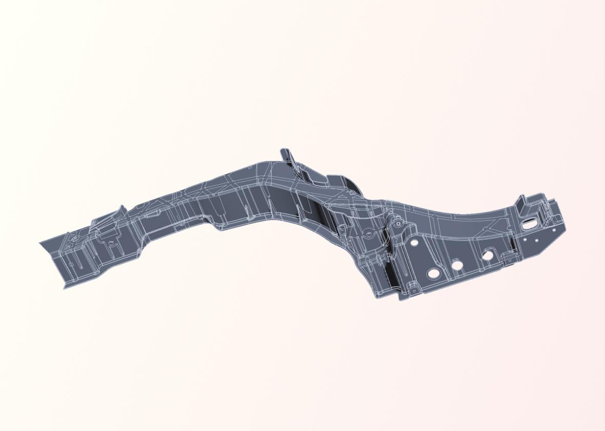 Das Bild zeigt das CAD-Modell eines Achsträgers.