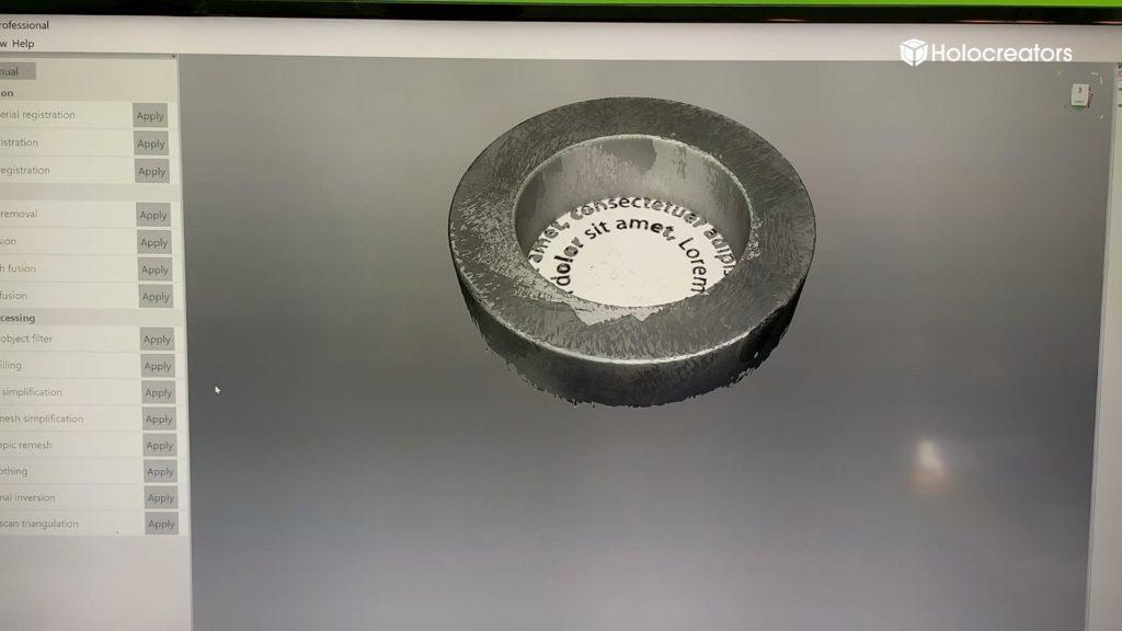 Der 3D-Scan des Einstellrings wird mit der Artec-Studio-Software dargestellt.