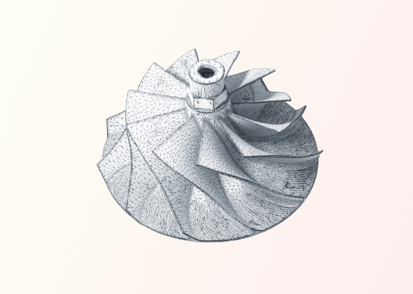 Compressor wheel 3D scan wireframe view