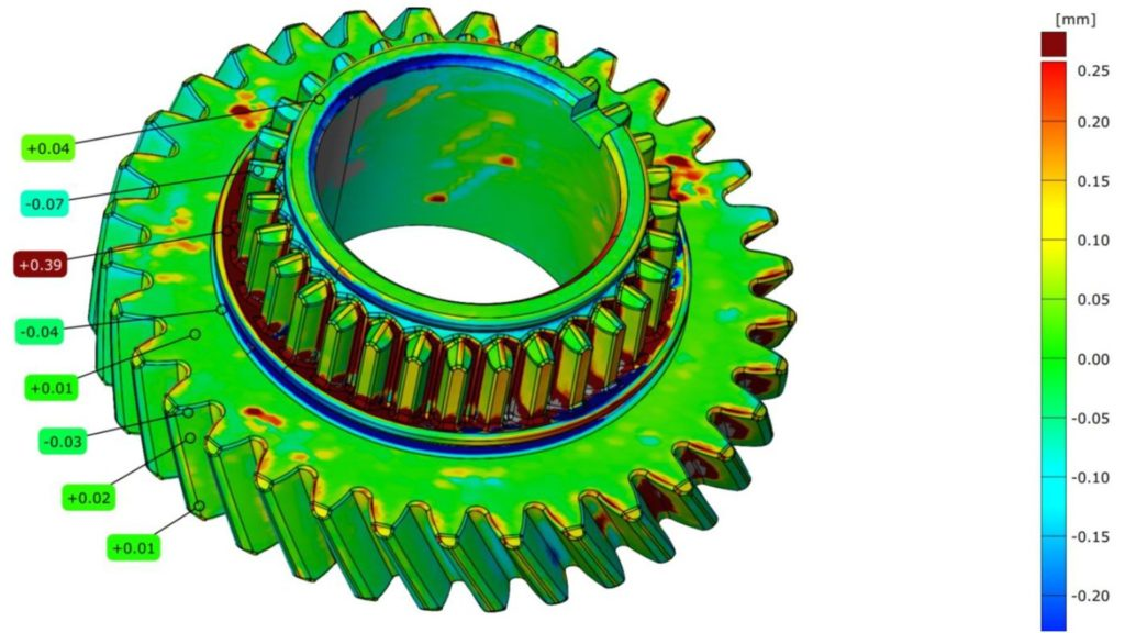 Deviation analysis comparing the 3D scan of a gear with the original CAD model front-view