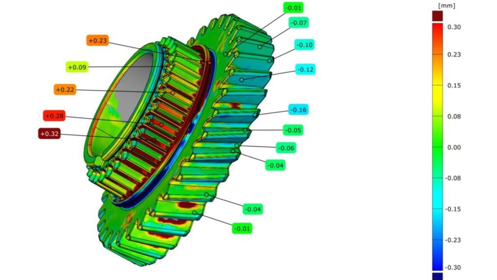 Deviation analysis comparing the 3D scan of a gear with the original CAD model side-view