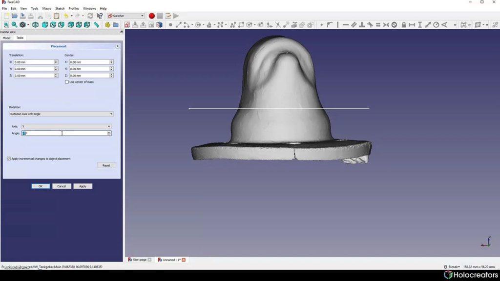 Der 3D-Scan wird in FreeCAD entlang der y-Achse gedreht.