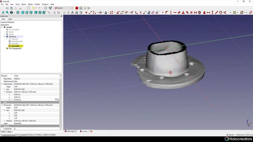 Adjusting the plane in Freecad so its on the cross-section of the 3D scan