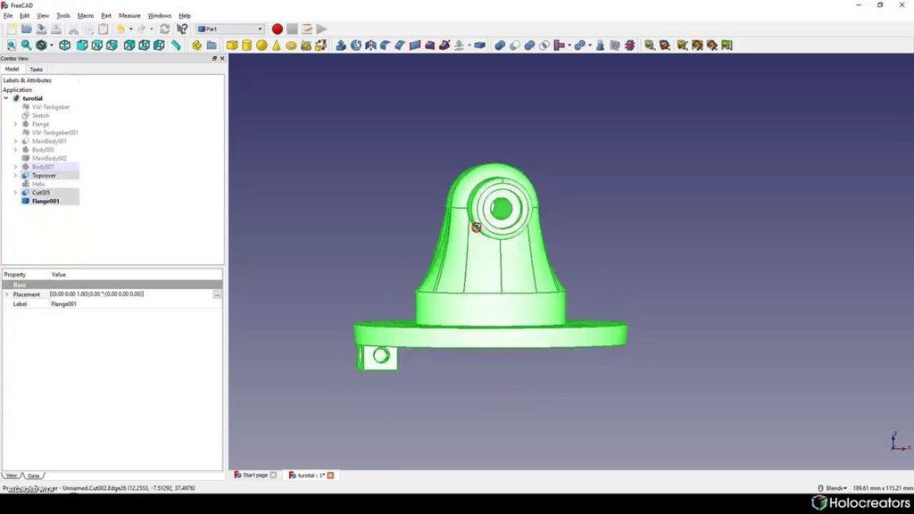 Mit der auf dem Bild gezeigten Schaltfläche können alle Körper in FreeCAD ausgewählt werden.