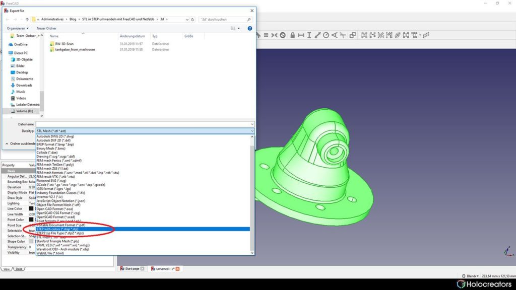 Die Auswahl kann im STEP-Format in FreeCAD gespeichert werden.