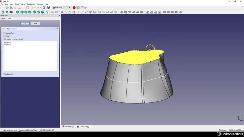 Wird ein Lofting-Vorgang in FreeCAD ausgeführt, ist das Ergebnis ein Volumenmodell.
