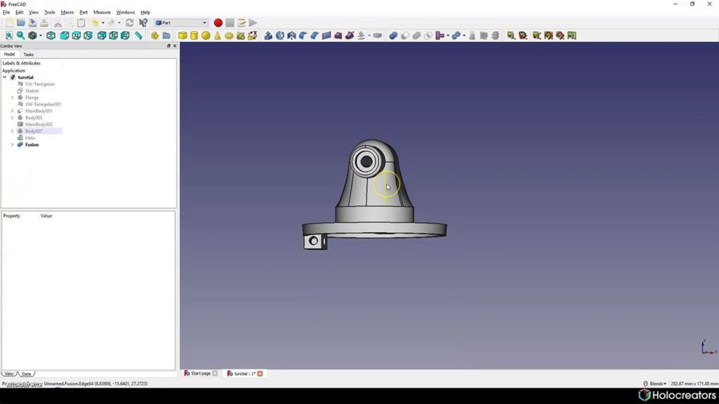 Reverse engineered solid model from 3D scan in Freecad
