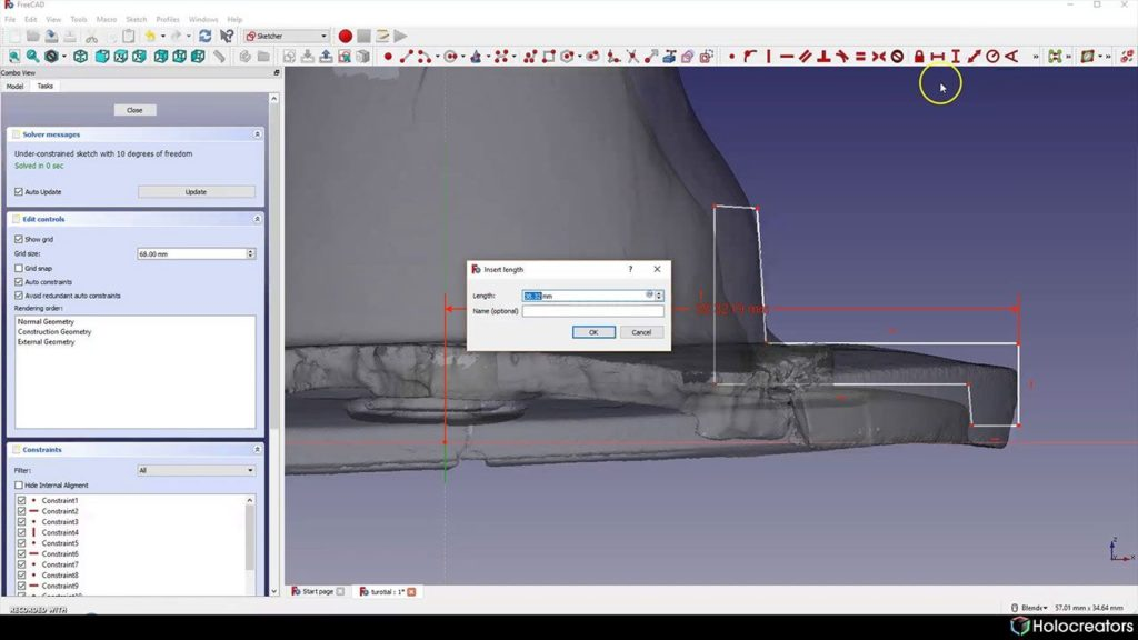 Window to insert length in Freecad