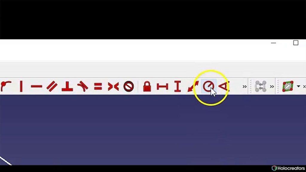In FreeCAD kann mit der auf dem Bild gezeigten Schaltfläche der Radius eines Kreises oder eines Bogens festgelegt werden.