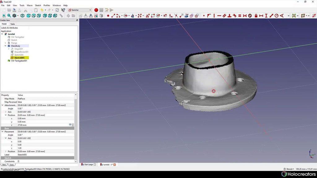 So wird eine Ebene in FreeCAD eingestellt, damit sie auf dem Querschnitt des 3D-Scans liegt.
