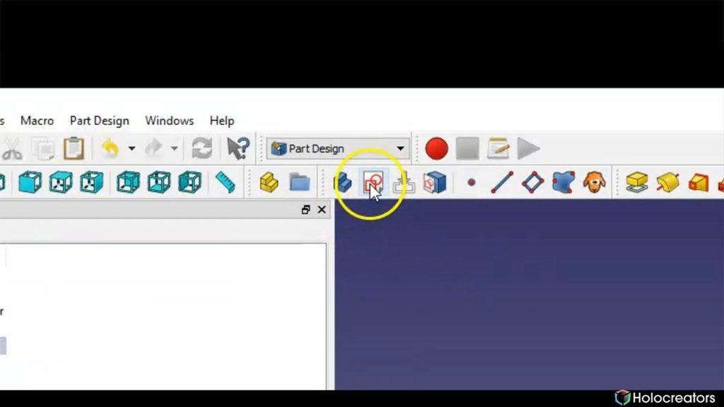 In FreeCAD können mit der auf dem Foto gezeigten Schaltfläche neue Skizzen erstellt werden.