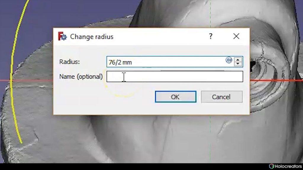 In diesem Computerfenster können Änderungen des Radius in FreeCAD vorgenommen werden.