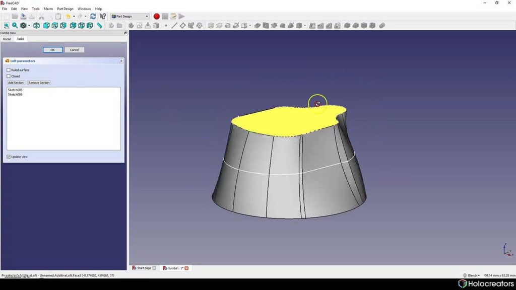 Result of lofting operation in Freecad is a solid model