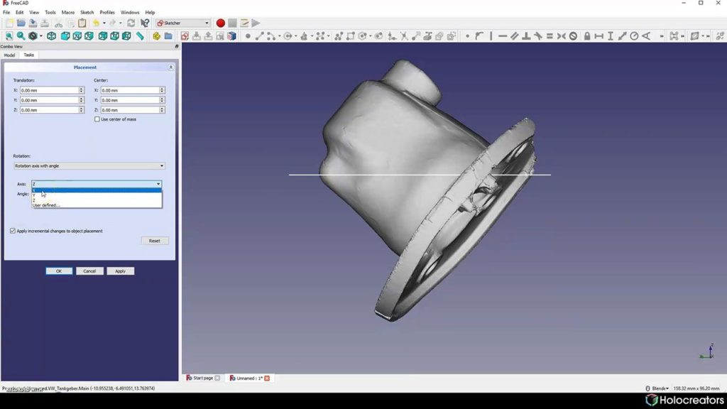 Rotating the 3D scan along its x-axis in Freecad