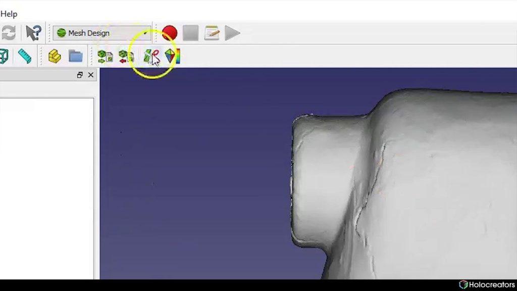 In FreeCAD kann mit einem ausgewählten Polygon ein Netz geschnitten werden.