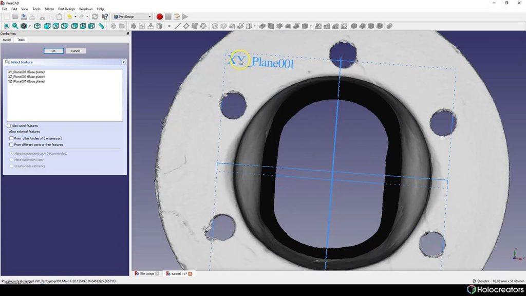 Mit der auf dem Bild gezeigten Schaltfläche kann die XY-Ebene in FreeCAD ausgewählt werden.