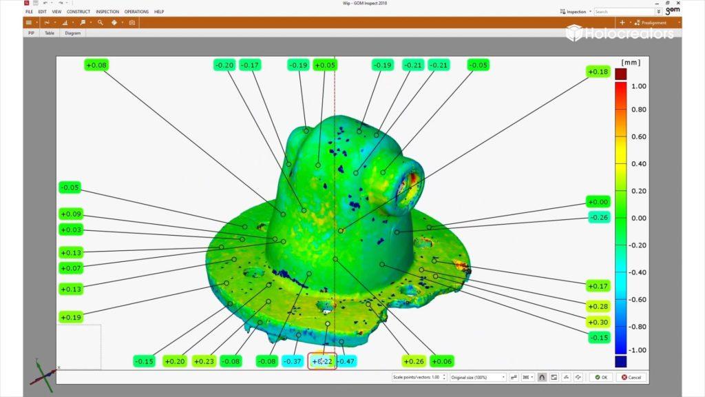 Die Abweichungsanalyse zeigt die Unterschiede zwischen dem Photogrammetrie-3D-Scan und dem professionellen Streifenlicht-3D-Scan.
