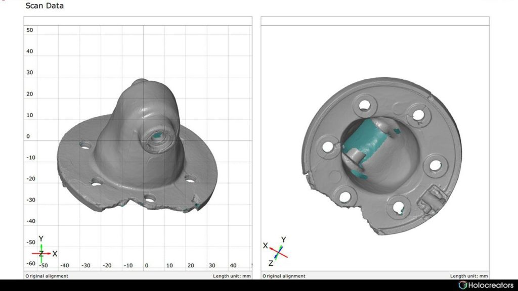3D scan of a part inside the GOM inspect report