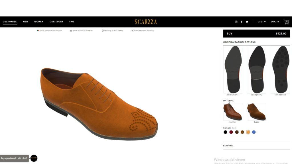 Der 3D-Produktkonfigurator zeigt das 3D-Modell eines hellbraunen Lederschuhs von Scarzza.