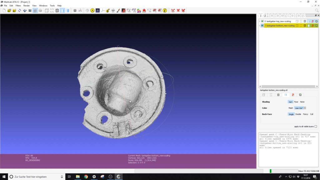 Der untere und obere 3D-Scan wurden in Meshlab importiert.