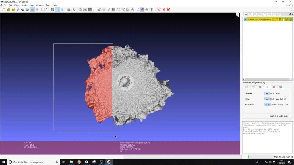 Die Anleitung zeigt, wie die Geometrie des 3D-Scans in Meshlab ausgewählt wird.