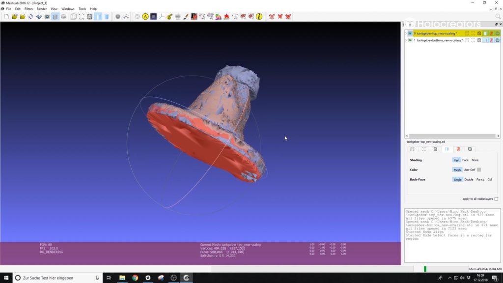 Die überlappende Geometrie aus dem 3D-Scan in Meshlab wird entfernt.