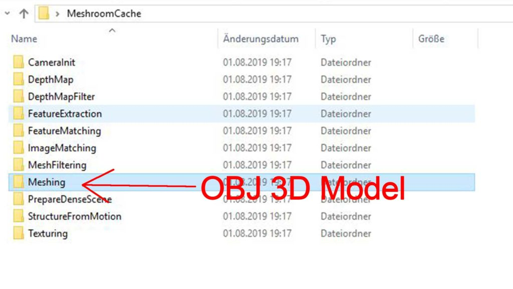 In dem gezeigten Ordner wird das 3D-Modell im obj-Format in Meshroom gespeichert.