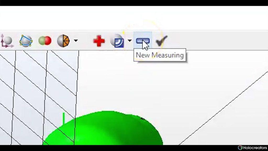 Mit der auf dem Bild gezeigten Schaltfläche kann eine neue Messung in Netfabb vorgenommen werden.
