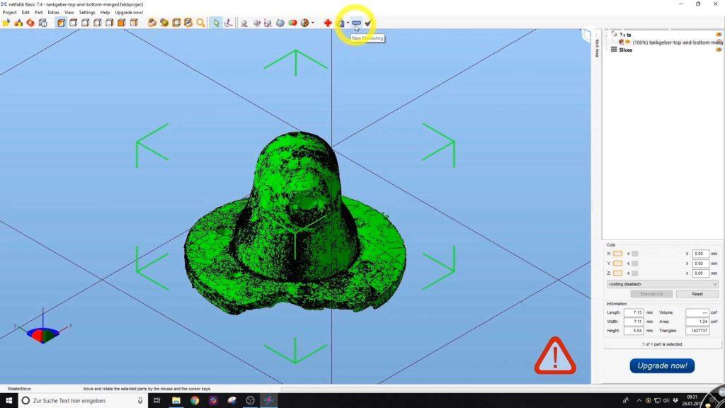 Mit der auf dem Bild gezeigten Schaltfläche kann eine neue Messung in Meshlab vorgenommen werden..
