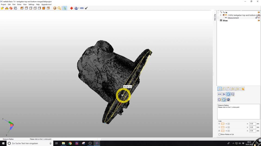Radius of the 3D scan in Netfabb