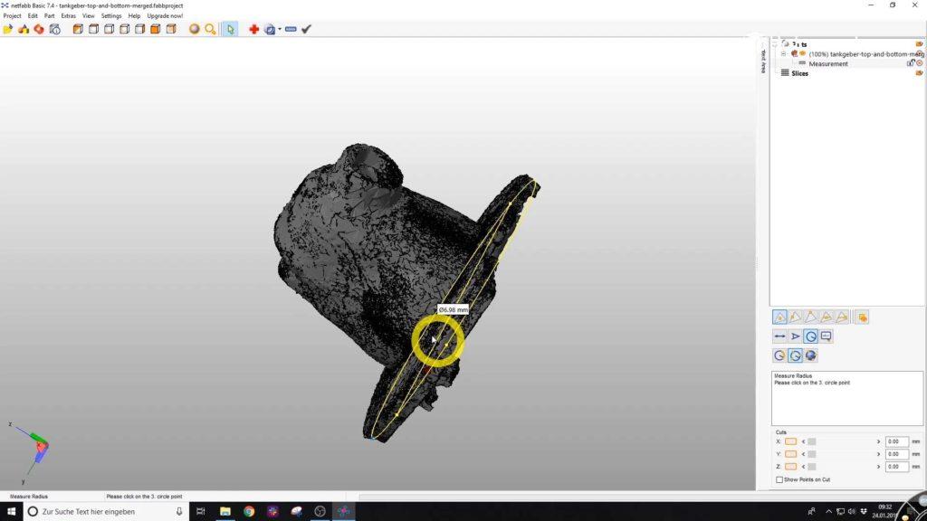 So wird der Radius des 3D-Scans in Netfabb dargestellt.