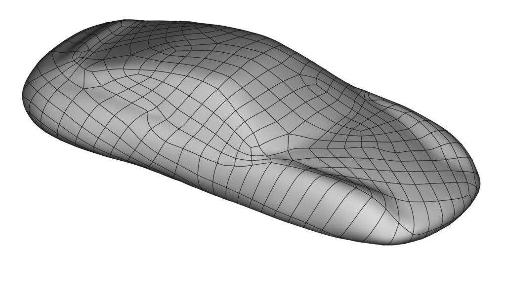 Das NURBs-Flächenmodell zeigt einen Sportwagen.