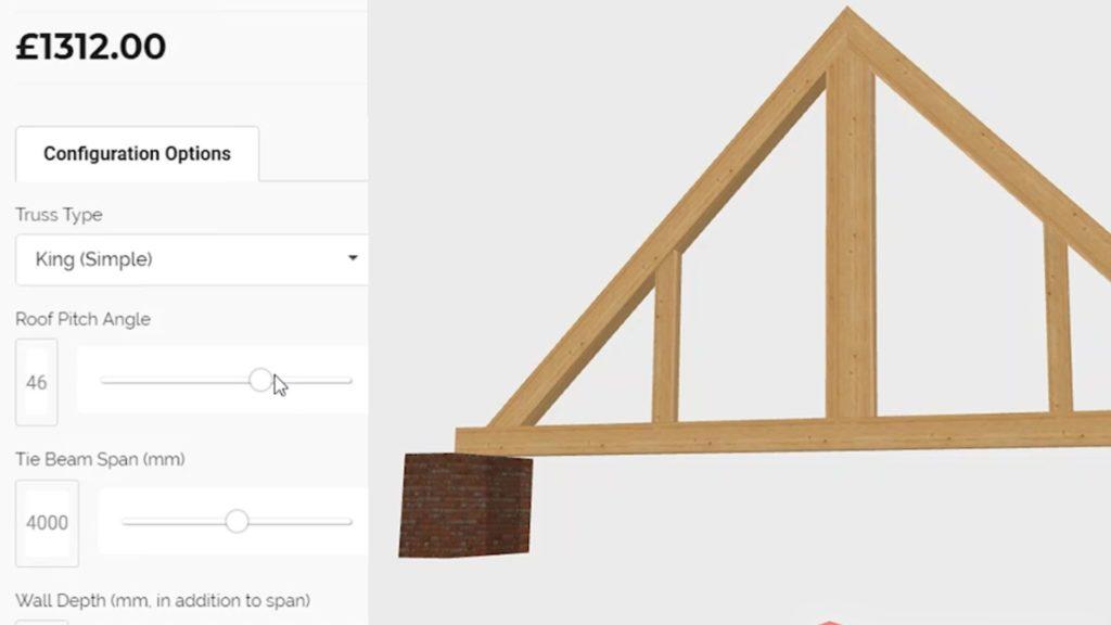 Der 3D-Produktkonfigurator zeigt das 3D-Modell eines Dachstuhls von Oak Beams.