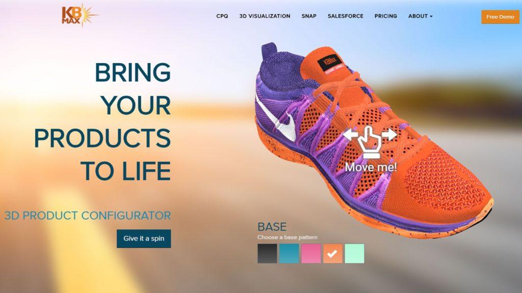 Der 3D-Produktkonfigurator zeigt das 3D-Modell eines Nike-Schuhs von KB Max.
