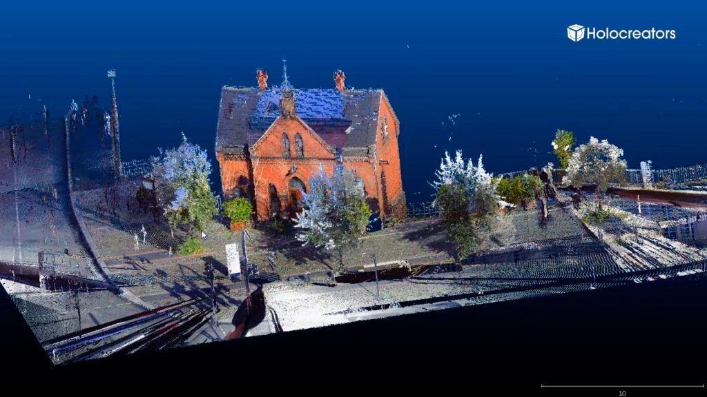 Die Punktwolke zeigt den 3D-Scan des Hamburger Fleetschlösschens.