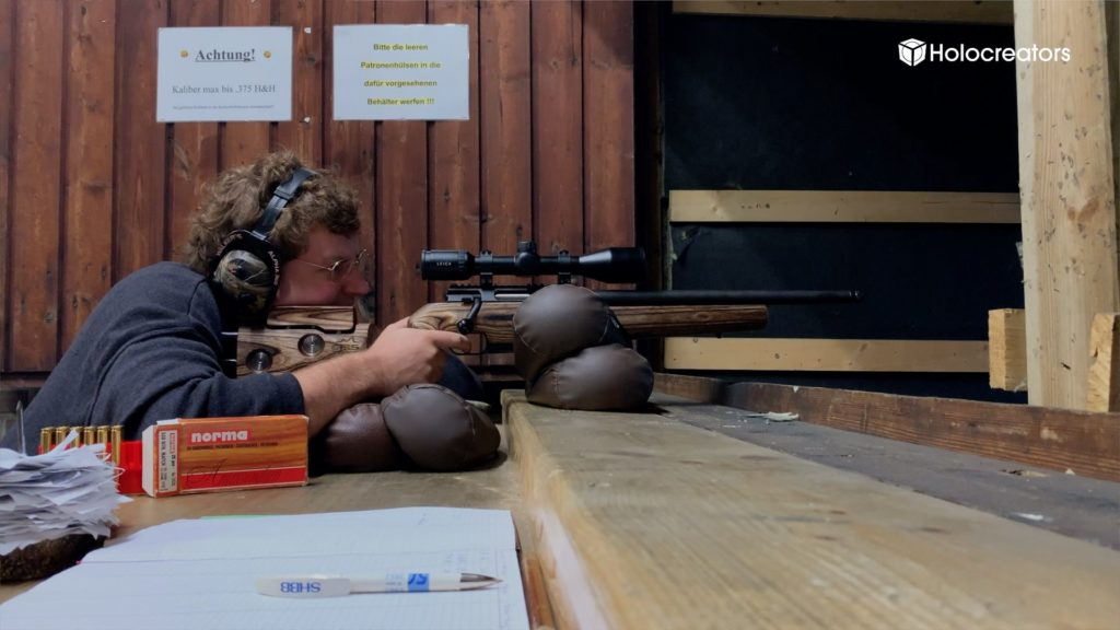 Rifle shooting on the range