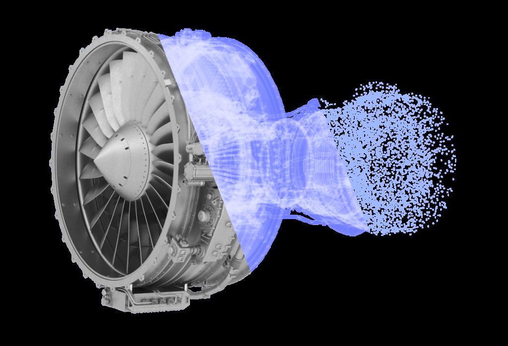 Ein 3D-scan von einem Turbinen-Strahltriebwerk dass von Volumenmodell zu Punktwolke überblendet