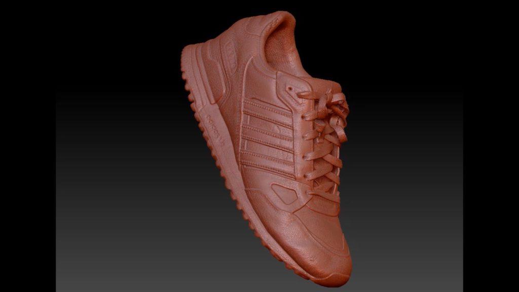 Der Adidas Schuh wurde mittels 3D-CT-Scan abgelichtet. Das 3D-Modell ist ohne Farbe.