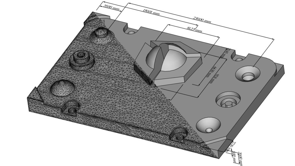 Split view of a 3D scan and a parametric model of the Holocreators demo part