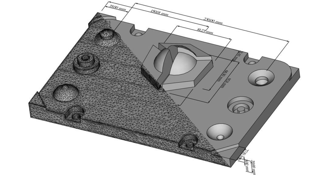 Die geteilte Ansicht zeigt links einen 3D-Scan und rechts ein parametrisches Modell des Holocreators-Demoteils.