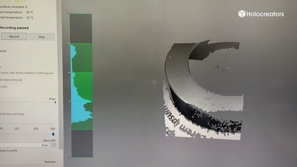 3D-scanning live-view inside the Artec Studio software