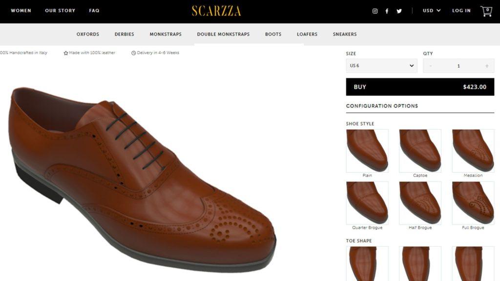 Der 3D-Produktkonfigurator zeigt das 3D-Modell eines braunen Lederschuhs von Scarzza.