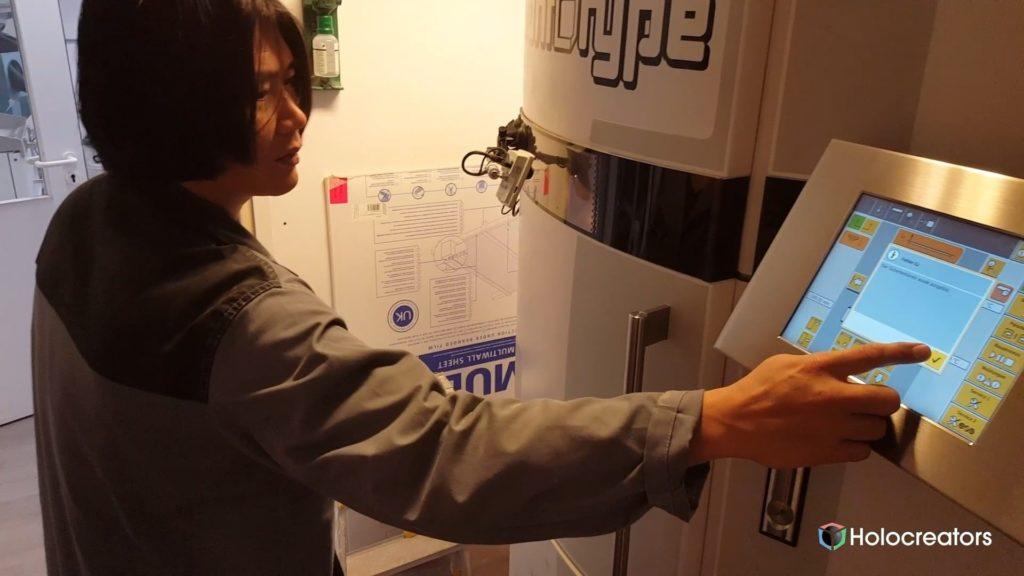 EOS Formiga 3D printer control screen