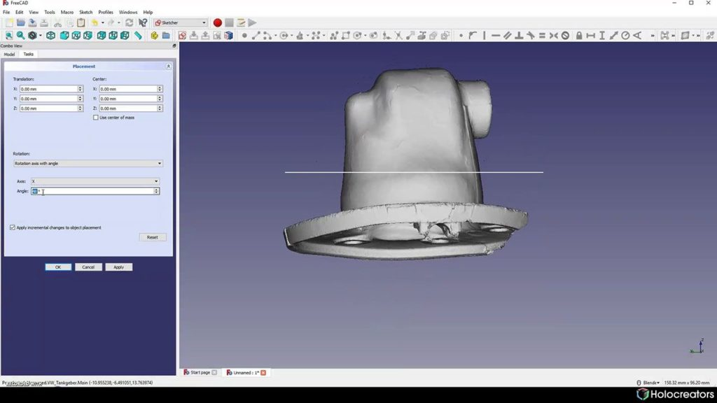 Rotating the 3D scan in Freecad so its perpendicular to the reference circle