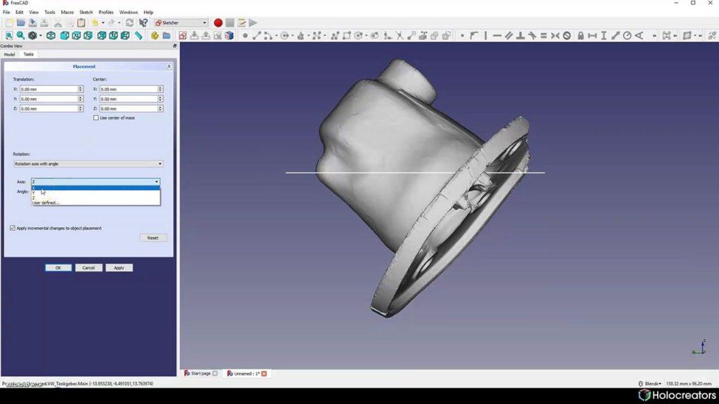 Der 3D-Scan wird in FreeCAD entlang der x-Achse gedreht.