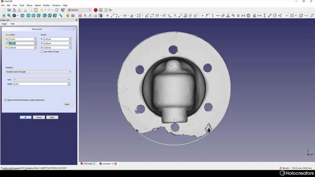 Der 3D-Scan kann in der Mitte des Referenzkreises verschoben werden.