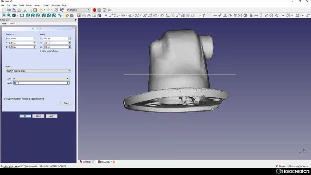 Der 3D-Scans wird in FreeCAD so gedreht, dass er senkrecht zum Referenzkreis steht.